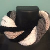 Handknitted Infinity Scarf, Neutrals, Stone, White and Black, French Knitting, Unisex Gift Idea